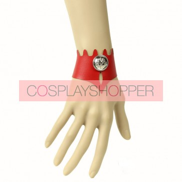 Punk Red Leather Button Girls Lolita Wrist Strap