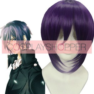 Purple 32cm Hakuouki Saito Hajime Cosplay Wig