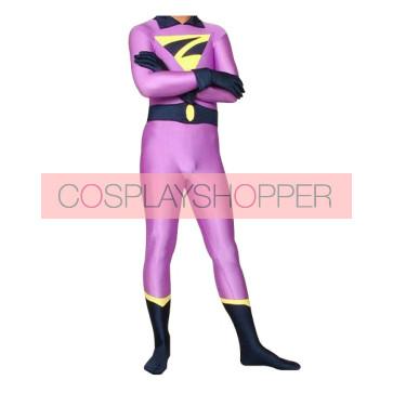 Purple And Black Z Lycra Spandex Superhero Zentai Suit
