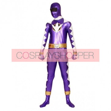 Purple And White PVC Superhero Zentai Suit