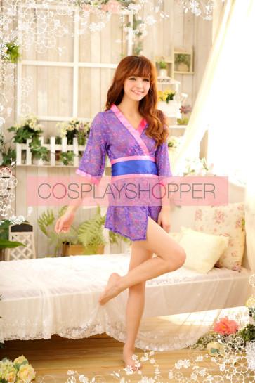 Purple Hot Floral Pattern Japanese Kimono