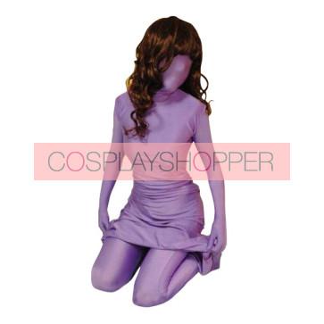 Purple Unicolor Lycra Spandex Unisex Zentai Suit