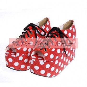 "Red 3.9"" Heel High Elegant PU Point Toe Cross Straps Platform Lady Lolita Shoes"