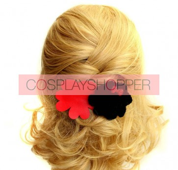 Red And Black Bow Girls Handmade Lolita Hairpin