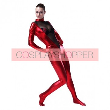 Unisex Black & Red Full Body Shiny Metallic Zentai Suit