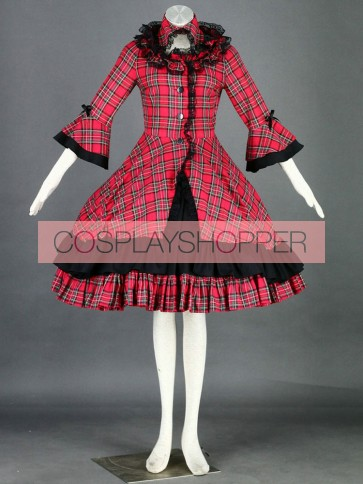 Red And Black Long Sleeves Cotton Sweet Lolita Dress