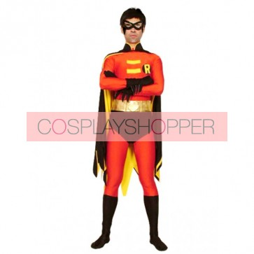 Red And Black Lycra Spandex Robin Superhero Zentai Suit