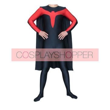 Unisex Red & Black Lycra Spandex Superhero Zentai Suit