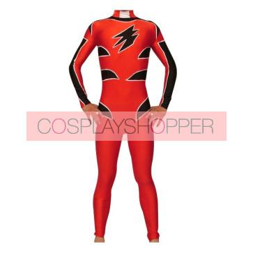 Red And Black Lycra Spandex Unisex Superhero Zentai Suit