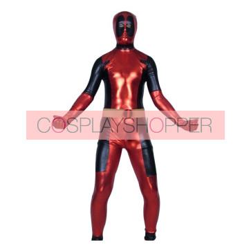 Red And Black Ninja Shiny Metallic Superhero Zentai Suit