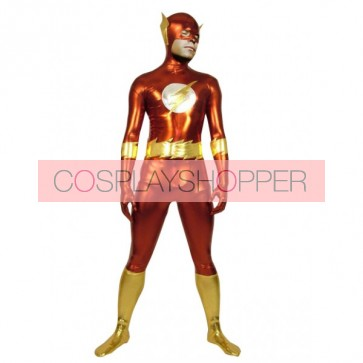 Red And Gold Lycra Spandex Superhero Zentai Suit