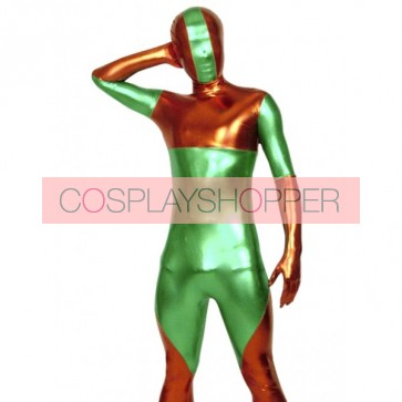 Red And Green Full Body Shiny Metallic Unisex Zentai Suit