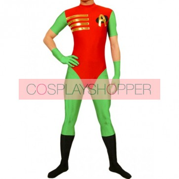 Red And Green Lycra Spandex Superhero Zentai Suit