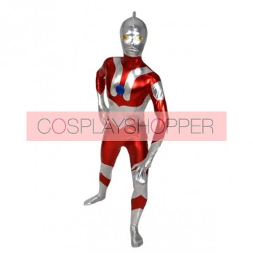 Red And Silver Shiny Metallic Superhero Zentai Suit