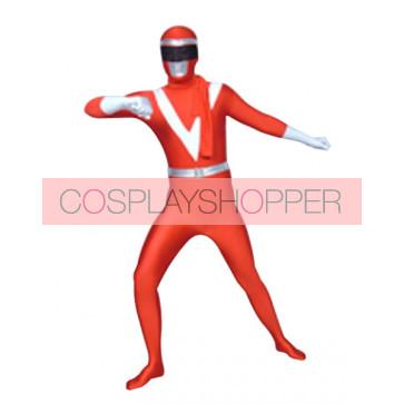 Red And White Lycra Spandex Unisex Superhero Zentai Suit