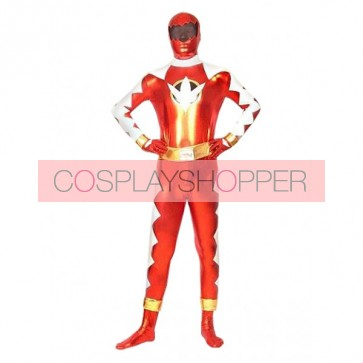 Red And White PVC Superhero Zentai Suit