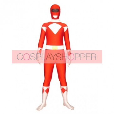 Red And White Space Warrior Baldios Lycra Spandex Superhero Zentai Suit