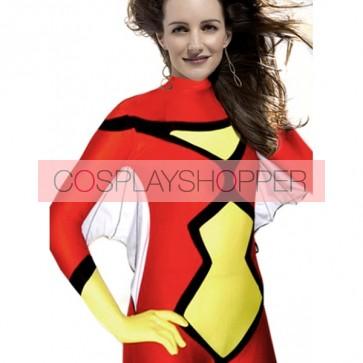Red And Yellow Bat Lycra Spandex Zentai Suit