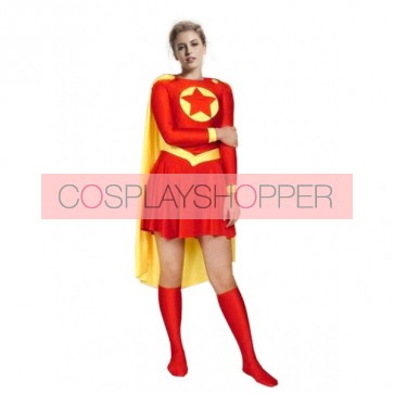 Red And Yellow Superwoman Lycra Spandex Superhero Zentai Suit