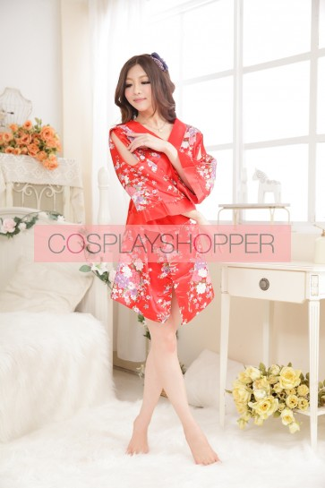Red Classic Floral Pattern Japanese Kimono