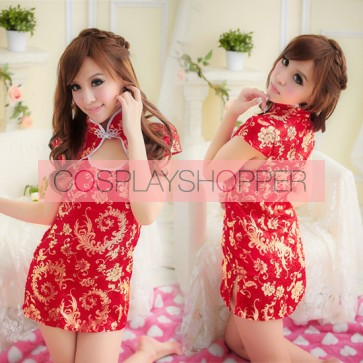Red Classic Floral Print Chinese Dress Costume