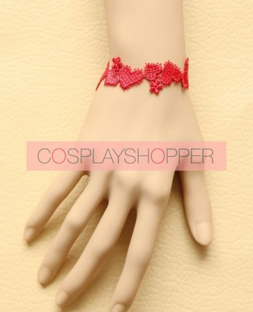 Red Concise Office Girls Lolita Wrist Strap