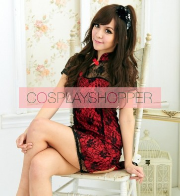 Red Elegant Lace Floral Print Chinese Dress Costume