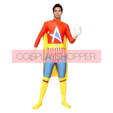 Red Lycra Spandex 4 Stars Superhero Zentai Suit