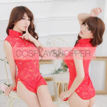 Red Sexy Sleeveless Hibiscus Flower Qipao Dress Costume