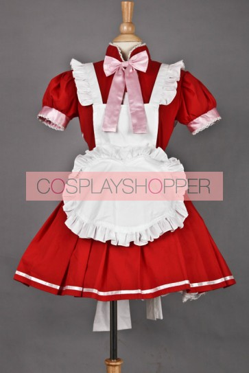 Red Short Sleeves Cute Cosplay Maid Costume