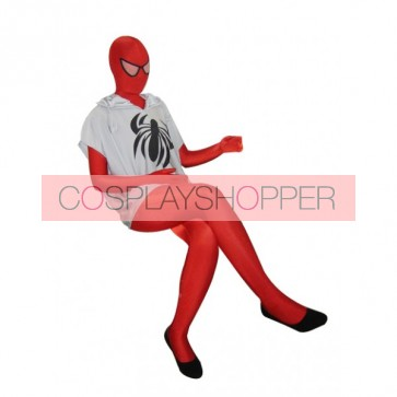 Red Spiderman Lycra Spandex Zentai Suit With White T-shirt