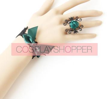 Retro Dark Green Bow Floral Lolita Bracelet And Ring Set