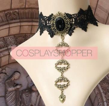 Retro Gothic Black Lace Queen Lolita Necklace