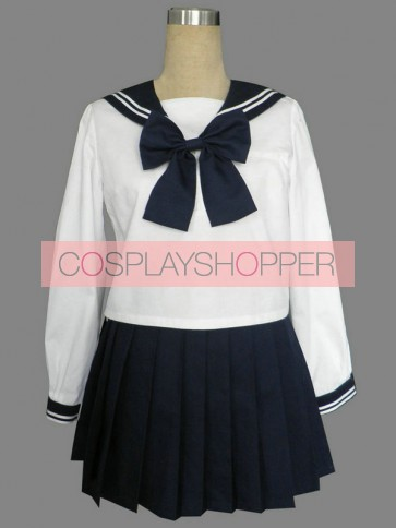 Royal Blue Cute Long Sleeves Girl School Uniform Cosplay Costume