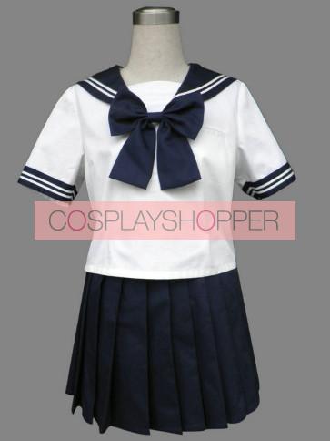 Royal Blue Cute Short Sleeves Girl School Uniform Cosplay Costume