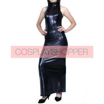 Sex Black Sleeveless PVC Zentai Suit