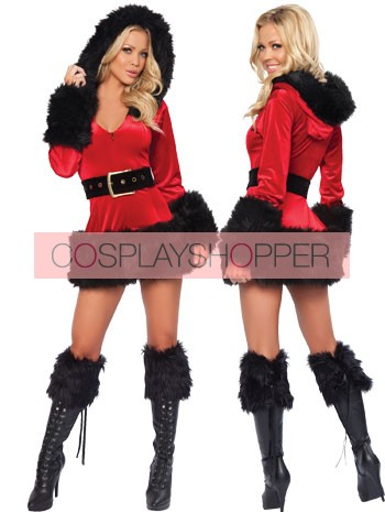 Sexy Black Fur Velvet Long Sleeves Lady Christmas Dress