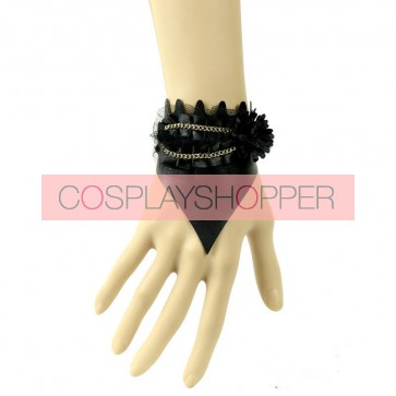 Sexy Black Leather Chain Lady Lolita Wrist Strap