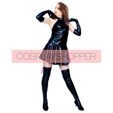 Sexy Black Mini Skirt PVC Zentai Suit