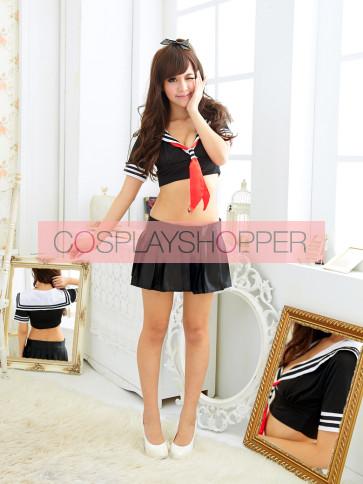 Sexy Black Short Sleeves School Girl Costume