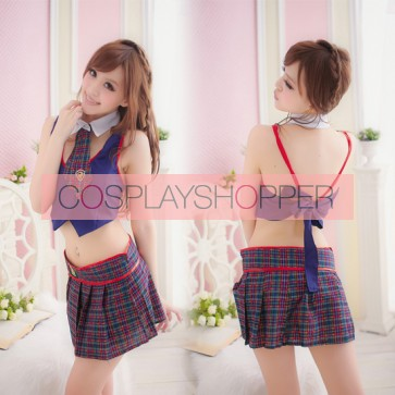 Sexy Blue Check Pattern Turndown Collar School Girl Costume