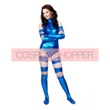Sexy Blue Shiny Metallic Unisex Zentai Suit