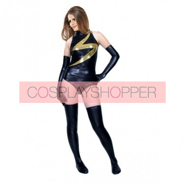 Sexy Gold And Black Unisex PVC Zentai Suit