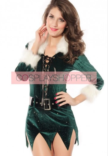 Sexy Green Polyester Lace-up Front Long Sleeves Christmas Dress