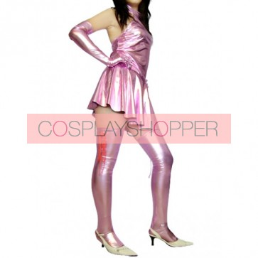 Sexy Pink Shiny Metallic Unisex Zentai Suit