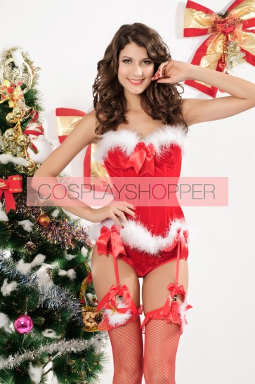 Sexy Polyester Strapless Lady Christmas Corset