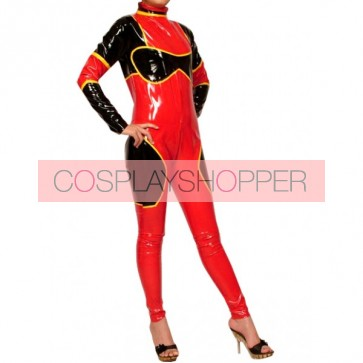 Sexy Red & Black PVC Zentai Suit
