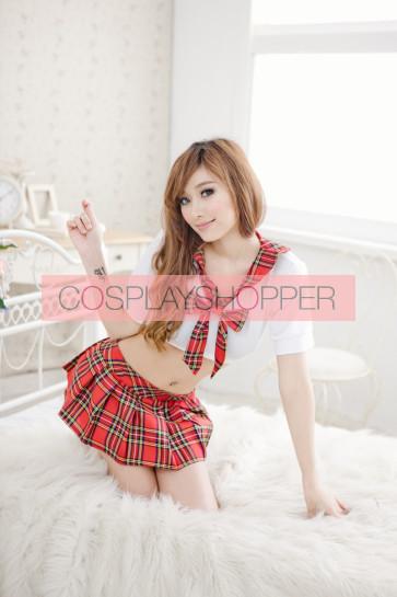 Sexy Red Plaid Pattern Short Sleeves Bow School Girl Uniform
