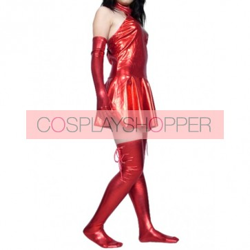 Sexy Red Shiny Metallic Unisex Zentai Suit