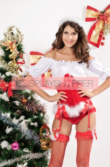 Sexy Santa Polyester Women Christmas Corset